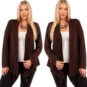 Sweaters - 1X-3X PLUS CHOCOLATEWaterfal Draped Knit Cardigan